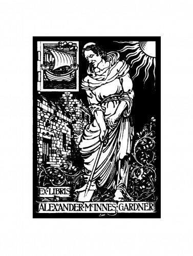 © All rights reserved. Bookplate of Alexander McInnes Gardner (Courtesy of Thomas Mann, sent July 2013 Bookplate designed by Allan Douglas (Hunterian Art Gallery).