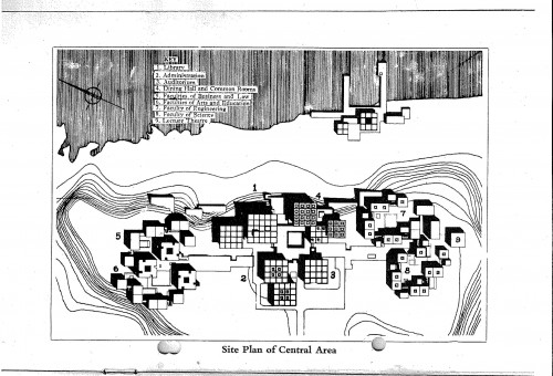 © All rights reserved. Site plan of the Central Area of the University of Lagos.<br><br>Image courtesy of Mr Michael Geddes, son of Albert Edwin Geddes